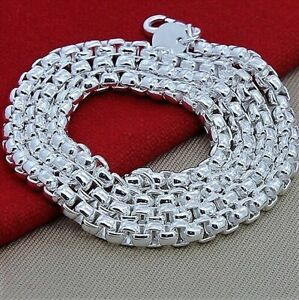 925 Sterling Silver Solid Italian Men's Women's Necklace Round Box Link Chain