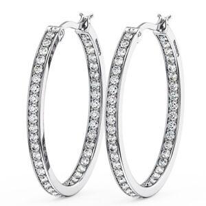 1.20 Carat Round Brilliant Cut Diamonds Hoop Earring  in 9K White Gold