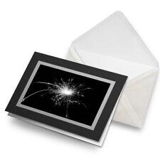 Greetings Card (Black) BW - Sparkler Sparks Firework Fun  #38110