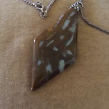 Vintage (1970s?) Polished Stone Pendant In Silver Setting On Silver Chain