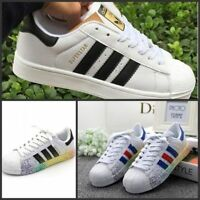 Men's Ladies Striped Lace Up Sport Running Sneakers Superstar Trainers Shoes