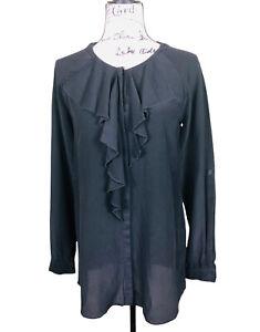 Tahari 100% Silk Ruffle Neck Long Sleeve Shirt Size Small Black