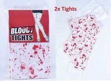 2x Bloody Blanc Collants Avec Taches De Sang Ensanglanté Infirmière Halloween Zombie VRAC LOT