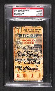 "Bob Gibson ""17K Shutout - MLB Record"" SIGNED 1968 World Series game 1 TICKET PSA"