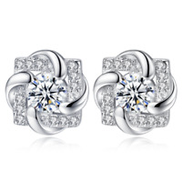 Womens Square Earrings Sterling Silver Plated Stud Studs Round Crystal Jewellery