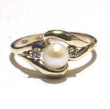 10k yellow gold .02ct SI2 H diamond pearl ring 2.3g estate vintage rare antique