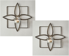 Wall Sconce Tea Light Candle Holder Metal & Glass Antique Bronze FREE CANDLES