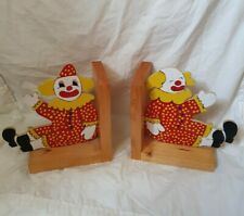 2 Vintage Clown Book Ends Storage Home Decor Bookends novelty wooden circus