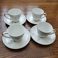 "Mikasa Ardley Tea Cup Saucer 6"" Plates Set of 4 Japan Silver Trim Fine China Vtg"
