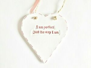 Perfect As I Am Positive Quote Heart Wall Plaque Home Decor Inspirational Gift