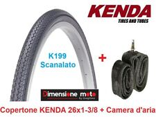 "1 Copertone ""KENDA"" 26x1-3/8 K199 Nero + 1 Camera d'aria per Bici 26"" City Bike"
