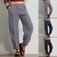 ZANZEA UK Women Elastic Waist Casual Loose Harem Pants Ladies Trousers Plus Size