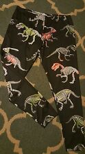 3X Leggings Dinosaur Bones Skeletons Plus Size Black Neon Cow Cow Nwot