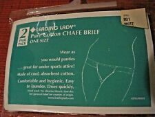 2 NEW WHITE LEADING LADY COTTON CHAFE BRIEF ONE SIZE