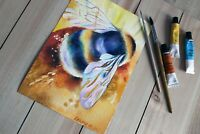 Bee original watercolor painting Colorful modern art Bee nursery bright art
