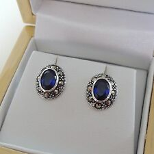 Sterling Silver Sapphire Marcasite Earrings