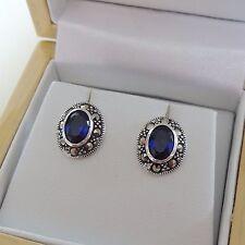 Sterling Silver Sapphire Marcasite Earrings