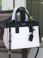 KATE SPADE CAMERON MEDIUM SATCHEL SHOULDER TOTE BAG WHITE BEIGE BLACK LEATHER