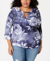 INC Womens Blouse Plus Size 2X Plus Keyhole Hardware  (1884) floral