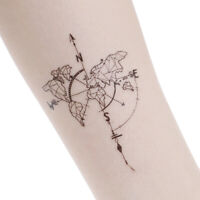 Waterproof Temporary Fake Tattoo Stickers Vintage Map Coordinates South North JE