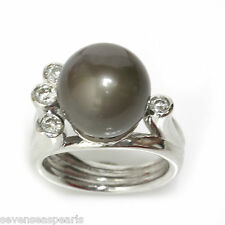 Tahitian Pearl Diamond Ring 12 MM AAA 14kt