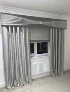 Grey Plush Velvet Window Pelmet with Silver Sash & Brooch