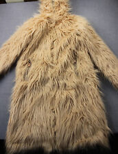 CHA SOR Womens Pale Pink Long Woolly Mammoth Faux Fur Jacket Coat Hodded NEW  S