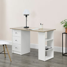 en.casa Mesa Escritorio 120x50x72cm 3 Cajones Mesa de Oficina Ordenador Blanco