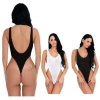 Women Sheer Lingerie High Cut Leotard Tops Bodysuit Thong Monokini Swimwear