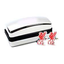 Liverpool fc lfc crest cufflinks boutons de manchette en velours floqué box nouveau cadeau de noël