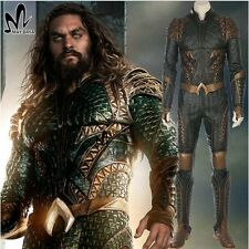 Justice League Aquaman Cosplay Costume Faux Leather Jacket Jumpsuit PLUS Trident