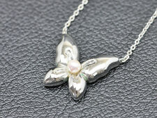 Auth Mikimoto Pearl 4.0mm Sterling Silver Butterfly Pendant  Necklace #3565