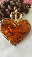 Large brown  Baltic Amber Heart  Pendant, wire wrapped in 14 k gold filled wire
