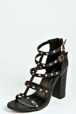 Boohoo Ivy Stud Trim Strappy Block Heels - Size 10