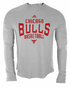Adidas NBA Men's Chicago Bulls Long Sleeve Thermal Shirt Top - Gray