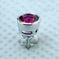 1.50 Ct Round Cut Red Ruby Men's Solitaire Stud Earrings 14K White Gold Over
