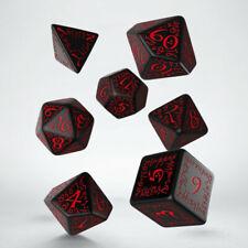 Q-Workshop BNIB Elvish Black & Red Dice Set (7) SELV06