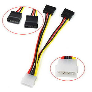 4P IDE to 2 Serial ATA SATA 15pin Y Splitter Hard Drive Power Adapter Cable 15cm