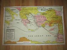 "VTG. PEERLESS SUNDAY SCHOOL MAP #3 ""ROMAN EMPIRE""-  27"" X 17""- HEAVY LINEN PAPER"