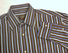 PAUL & SHARK YACHTING Long Sleeve Button Front Shirt SIZE 39 (M) Brown Striped