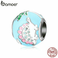 BAMOER Full 925 Sterling Silver Charm Blue little dinosaur Bead DIY for Bracelet