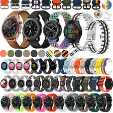For Samsung Galaxy Watch 3 45mm 46mm S3 Stainless Steel Leather Wrist Band Strap