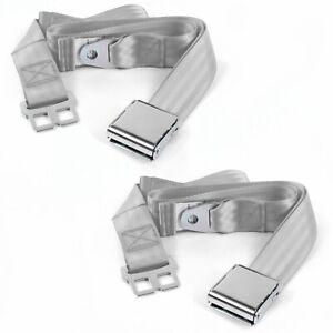 Early Cars 1933 - 1934 Airplane 2pt Gray/Grey Lap Bucket Seat Belt Kit - 2 Belts