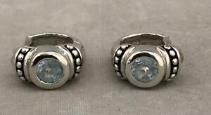 Beautiful Ladies Sterling Silver Blue Topaz Huffy Hoop Earrings