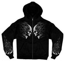 Mens Hoodie Skulls Design Zip Up Sweatshirt Motorcycle Biker Black Size XL