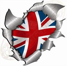 Large Metal  Effect Rip Torn Open Union Jack Sticker JDM Race Car Van Boat VW