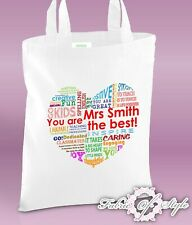 PERSONALISED Tote Bag Thank You Teacher School Gift 2019 Design Heart White