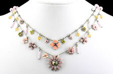 NEW PILGRIM SILVER PLATED NECKLACE SWAROVSKI CRYSTALS ENAMEL PINK PASTEL FLOWERS