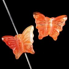 2Pcs 23x15x4mm Carved Natural Red Agate Butterfly Pendant Bead Q24417