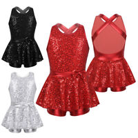 Girls Kids Sparkly Ballet Leotard Dance Dress Skating Tap Tutu Dancewear Costume